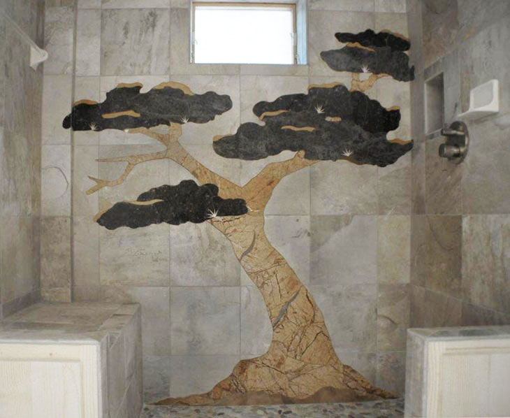 ... Bonsai Tree Design in tile inlay ...